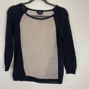 Bebe Open Knit Black Tan Top Size Small